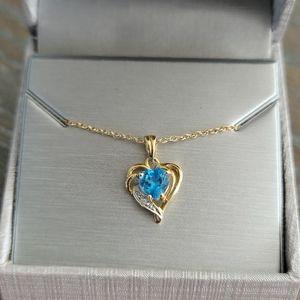Sale! 14K YG Topaz And Diamond Heart Necklace
